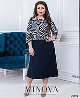 Яркое женское платье с принтованным лифом с 50 по 56 размер, фото 1