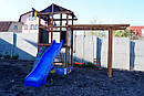 Уличная детская площадка песочница с горкой кольцами качелями рукоходом для дачи для дома деревянная., фото 5