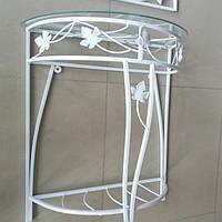 Столик белый пристенный консоль средняя прованс