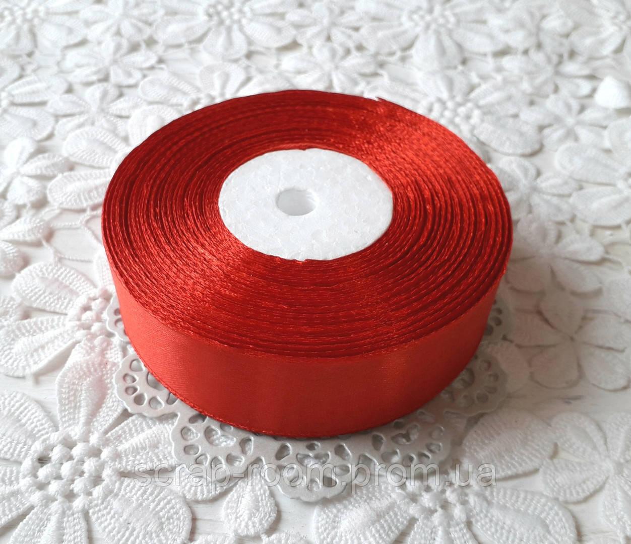 Лента атласная 2,5 см красная, лента цвет красный атлас, лента атласная красная, цена за метр