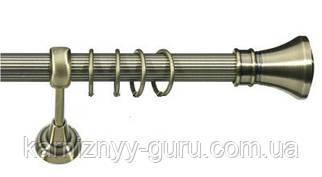 Карниз для штор ø 19 мм, одинарный, наконечник Колозео, рифленая