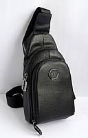 Мужская кожаная сумка-слинг, сумка-мессенджер через плечо PHILIPP PLEIN реплика