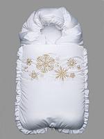 """Конверт на выписку зимний белый """"Снежинки"""", фото 1"""