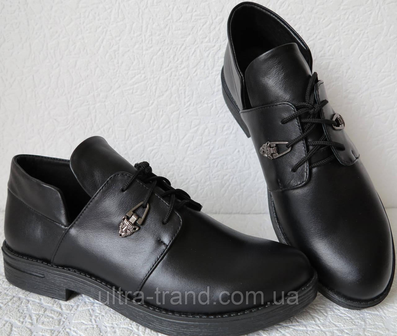 Пантера! Полуботинки женские, натуральная черная кожа на шнуровке и удобный каблук. Pantera