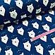 Ткань польская хлопковая, мишки белые с треугольниками на синем, фото 3