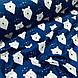 Ткань польская хлопковая, мишки белые с треугольниками на синем, фото 4