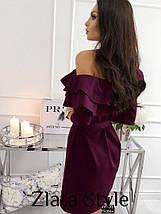 Красивое платье мини полуоблегающее с поясом рукав три четверти с воланами цвет черный, фото 3