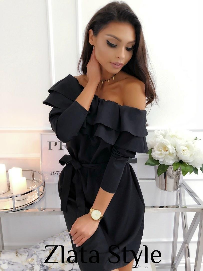 Красивое платье мини полуоблегающее с поясом рукав три четверти с воланами цвет черный