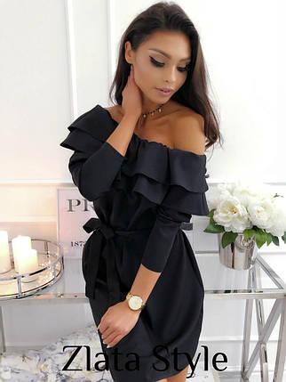 Красивое платье мини полуоблегающее с поясом рукав три четверти с воланами цвет черный, фото 2
