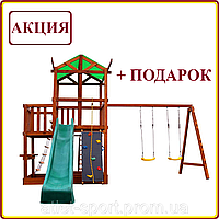 Уличная детская площадка песочница с горкой канатом кольцами качелями для дачи для дома деревянная