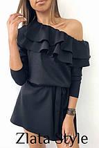 Модное платье мини с поясом в тон рукав три четверти мокко, фото 3