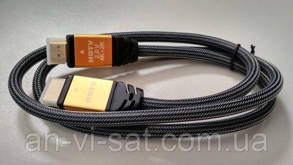 Кабель HDMI-HDMI 1м, v2.0 Gold