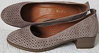 Nona женские удобные легкие кожаные  туфельки  перфорация на маленьком каблучке! Лето 2019