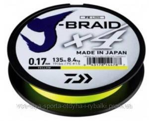 Шнур Daiwa J-Braid X4E 0,19mm 135m Yellow