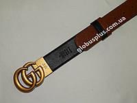 Двухсторонний женский кожаный ремень 40 мм., чёрный/светло-коричневый, реплика 930853