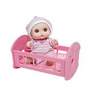 4105015 Пупс-малыш с кроваткой, 13 см