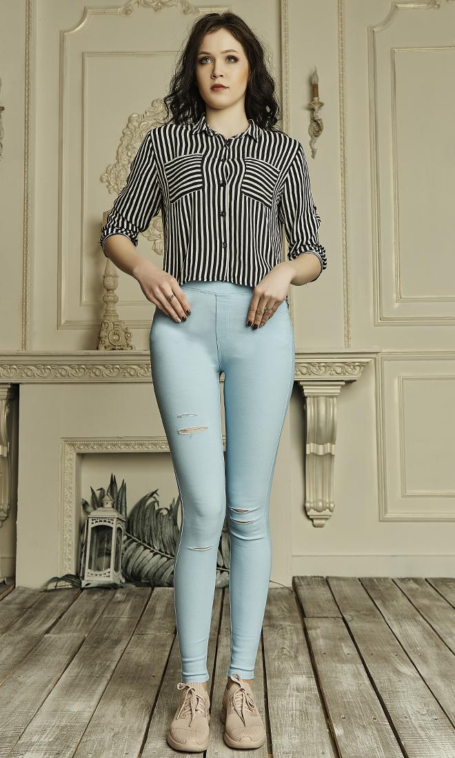 Женские лосины из джинс-котона №1752 голубой