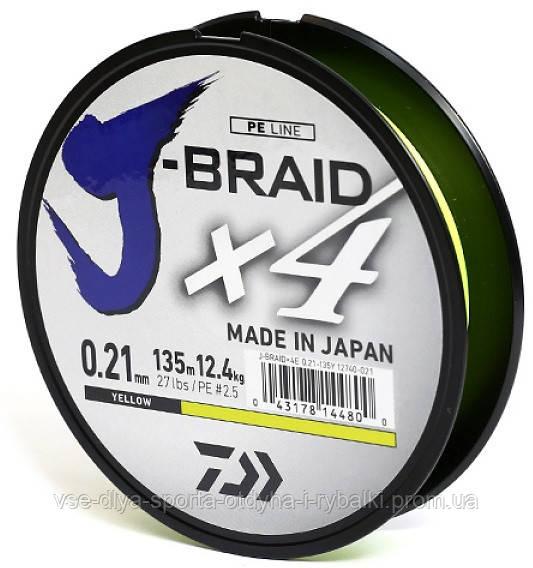 Шнур Daiwa J-Braid X4E 0,21mm-135m yellow