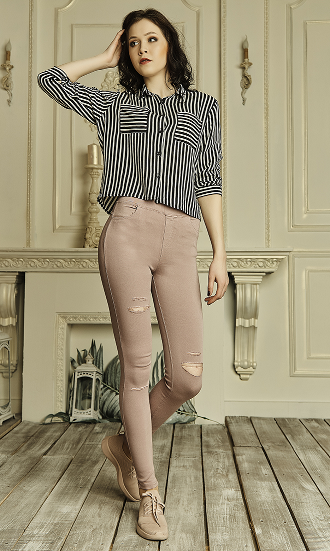 Женские лосины из джинс-котона №1748 пудра
