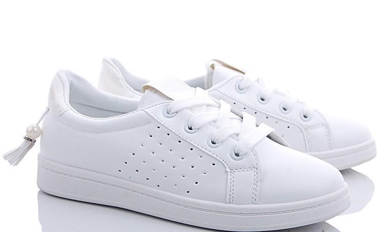 Женские кроссовки белого цвета с бусинкой на низком ходу 36, 38, 39р. 190126316