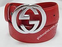 Женский брендовый кожаный ремень Gucci 40 мм., красный, реплика 930857, фото 1