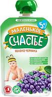 Пюре Маленькое счастье (пауч) Яблоко-черника 90г с 5мес