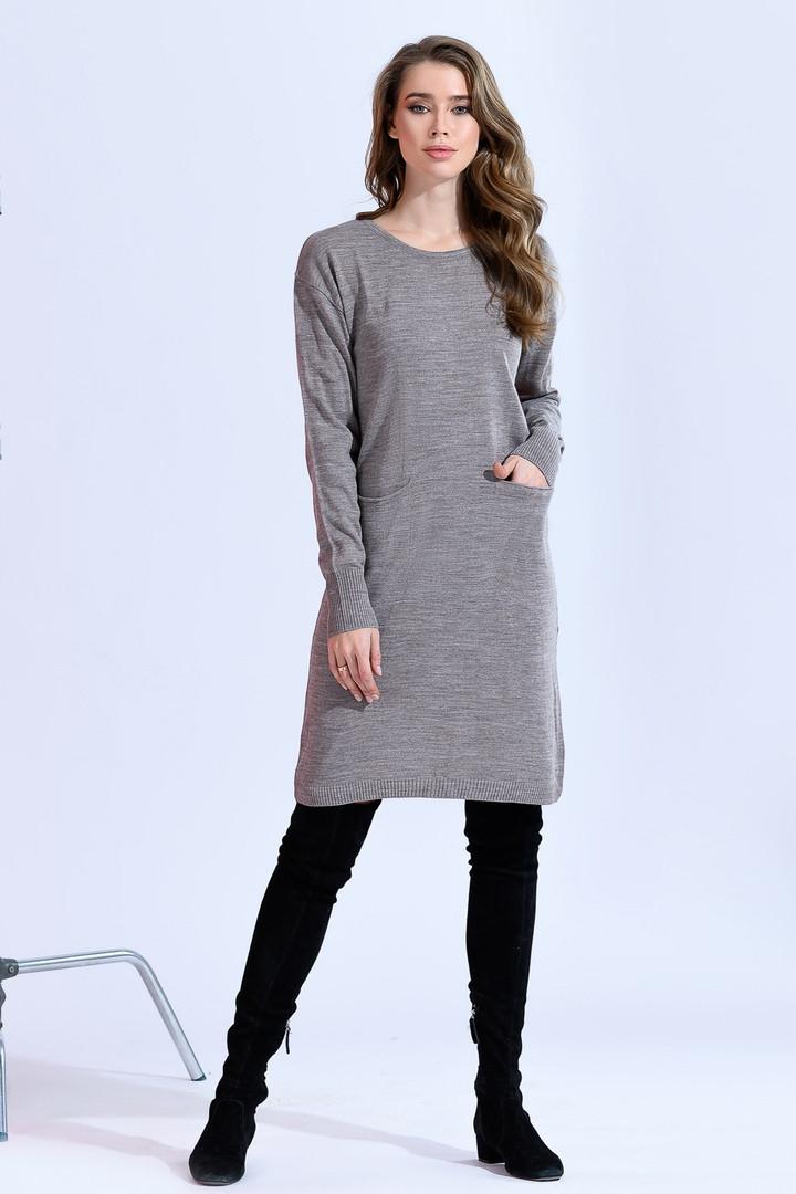 Вязаное платье -туника мелкая вязка 42-46р.(2расцв)