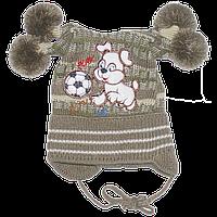 Детская вязаная шапочка на завязках, ТМ Аника, р.46-48, Украина