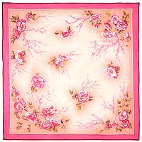 """Платок шелковый (креп-жоржет) """"Сады Киото"""" размер 84х84 см. рис.988-3"""