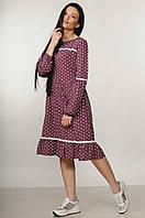 Стильное платье свободного кроя в горох Sheril (42–52р) в расцветках, фото 1