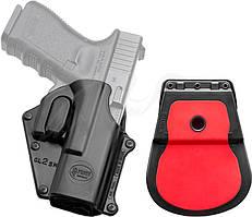 Кобура Fobus для Glock 17/19 с поясным фиксатором/кнопкой фиксации скобы спускового крючкаКобура Fobus для Glock 17/19 с поясным фиксатором/кнопкой