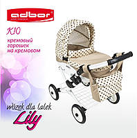 Кукольная коляска Lily TM Adbor (К10, кремовый, горошек на кремовом)