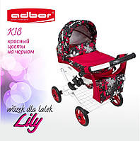 Кукольная коляска Lily TM Adbor (К18, красный, цветы на черном)