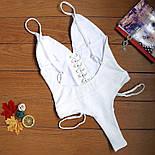 Женский сдельный белый купальник со шнуровкой , фото 3