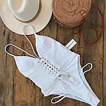 Женский сдельный белый купальник со шнуровкой , фото 4