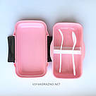 Набор ланч бокс и бутылка для детей в школу - розовый, фото 4