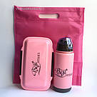 Набор ланч бокс и бутылка для детей в школу - розовый, фото 7