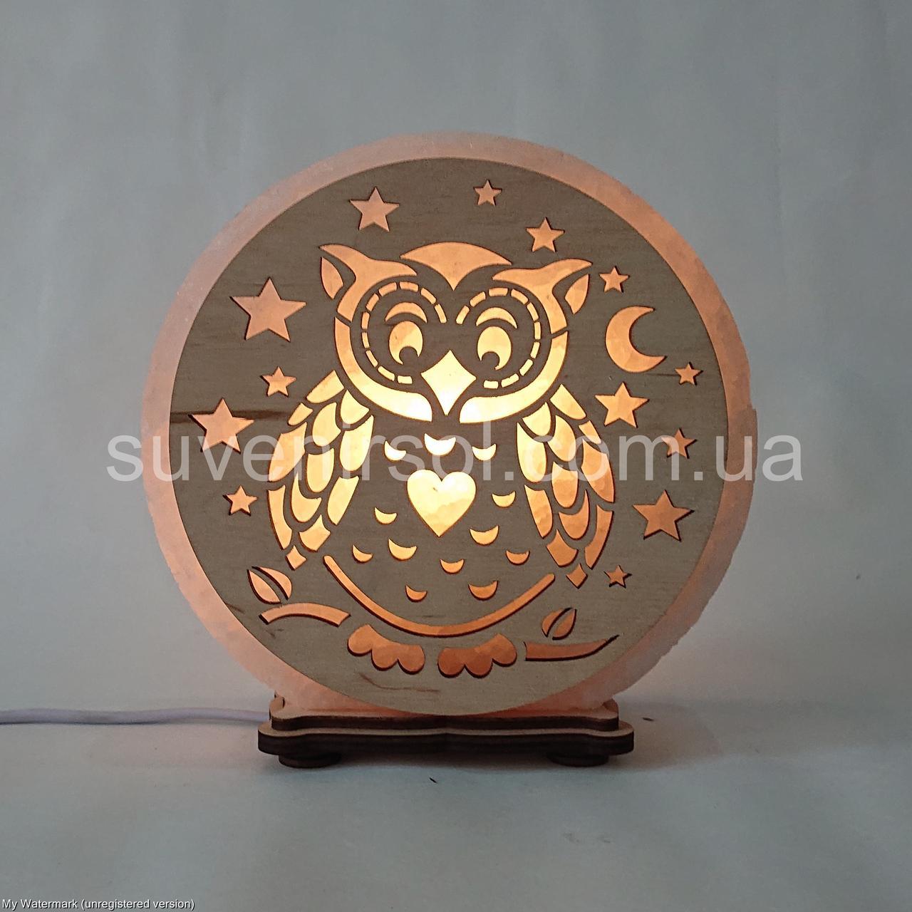 Соляной светильник круглый Сова
