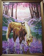 Набор для вышивания крестиком Лошадь и жеребенок. Размер: 22*30,5 см