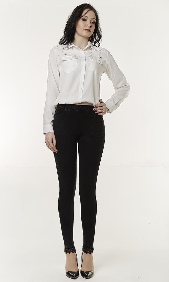 Женские джинсовые лосины с кружевными вставками №1737