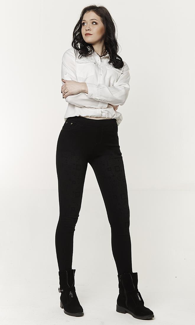 Женские джинсовые лосины с узором №1735