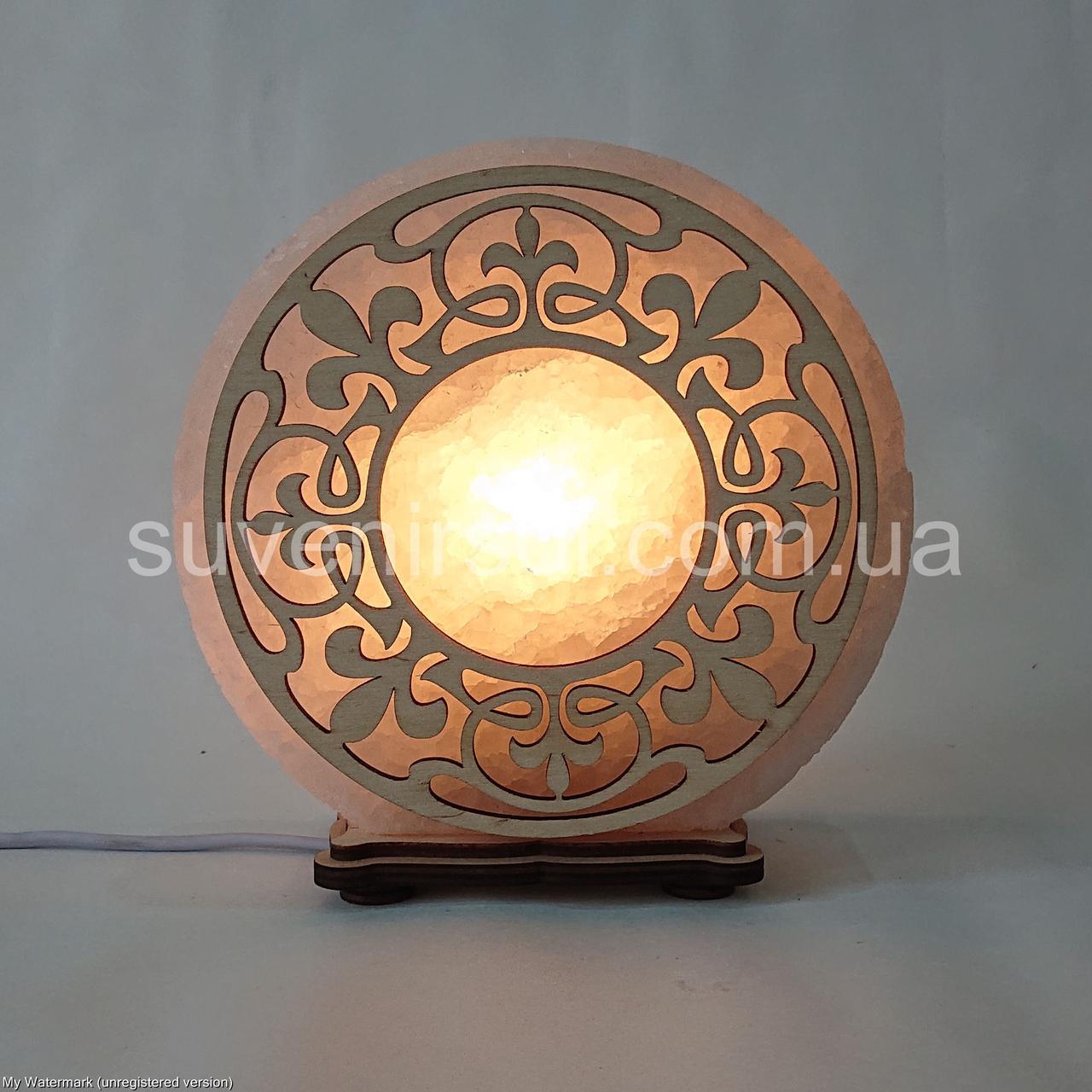 Соляной светильник круглый Узор 4