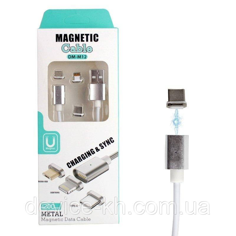 Магнитный Шнур Data кабель для зарядки Micro USB and Lighting magnetic cable DM-M15