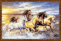 Набор для вышивания крестиком Лошади. Размер: 52*35 см