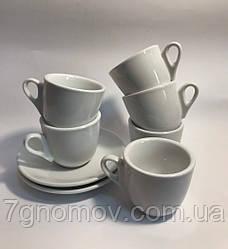 Кавовий набір на 6 білих чашок Еспресо