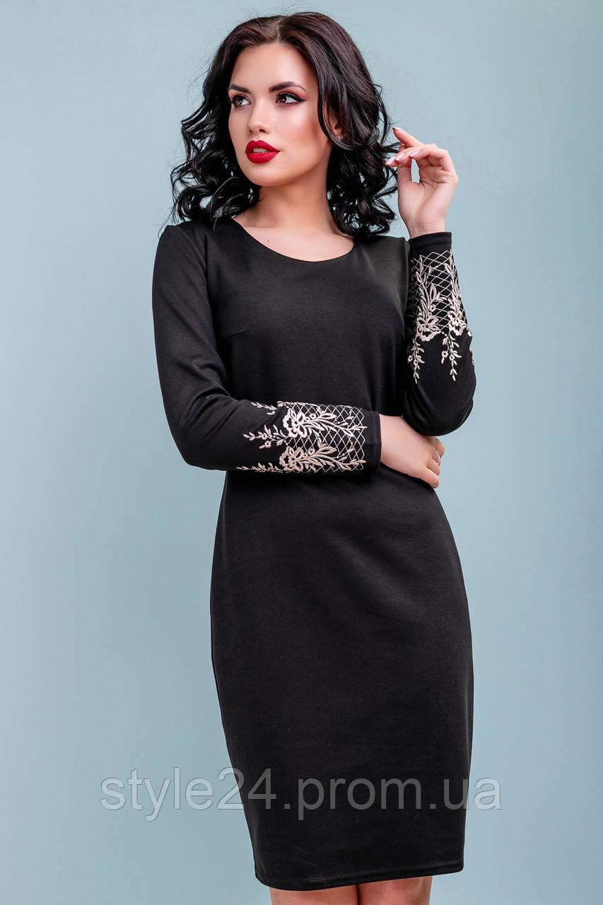 Стильне жІноче плаття з вишитими рукавами.Р-ри 44-50