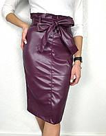 Женская юбка удлинённая из стрейч кожи