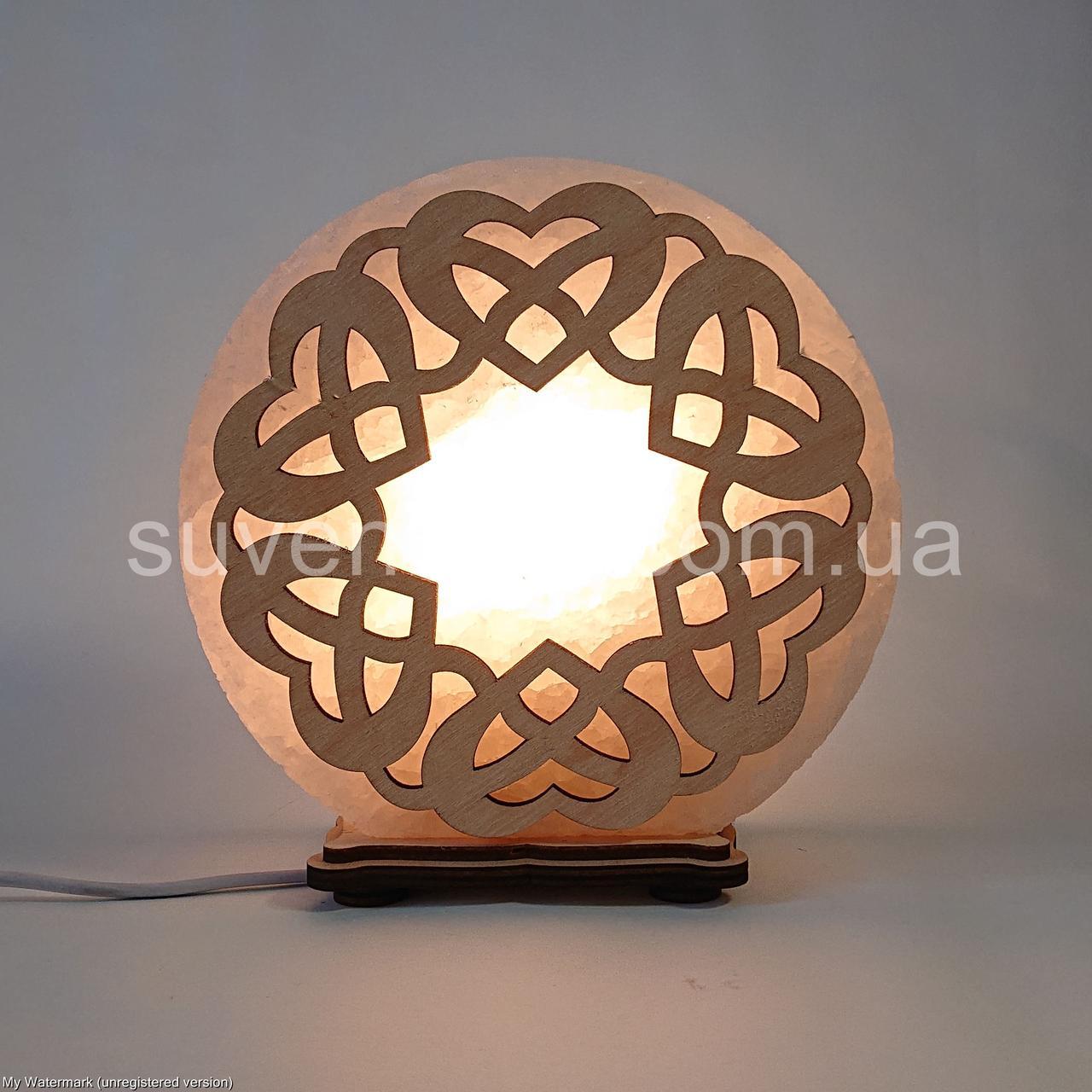 Соляной светильник круглый Переплет сердец