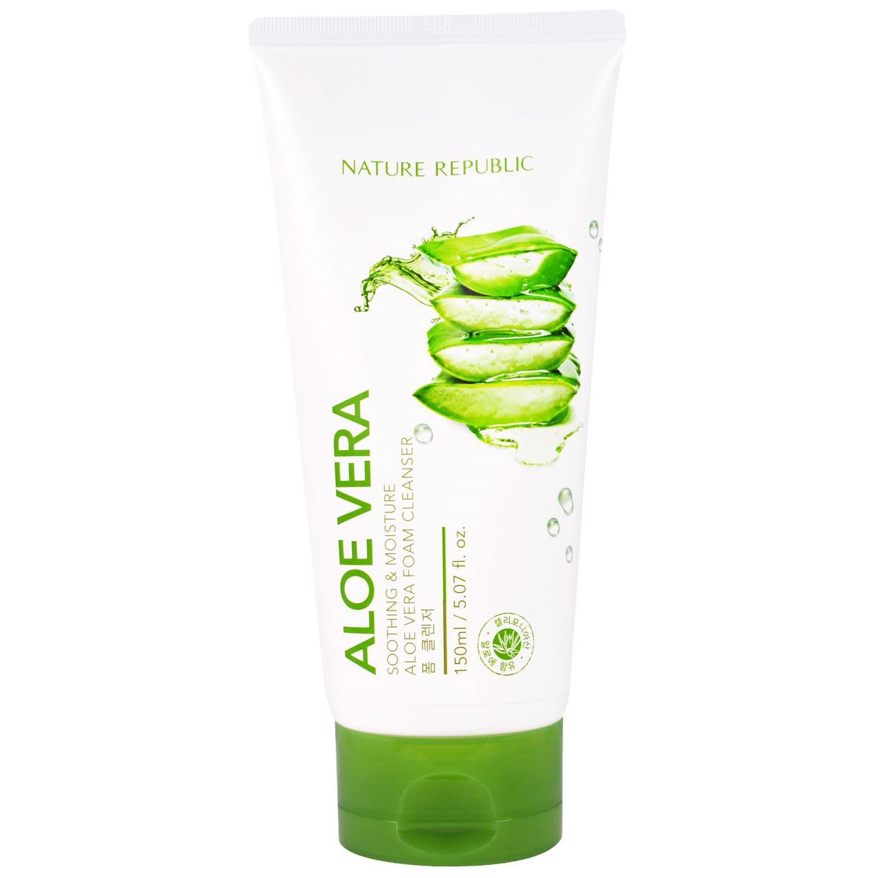 Пенка для умывания с экстрактом алоэ вера Nature Republic Soothing & Moisture Aloe Vera Foam Cleanser 150 мл