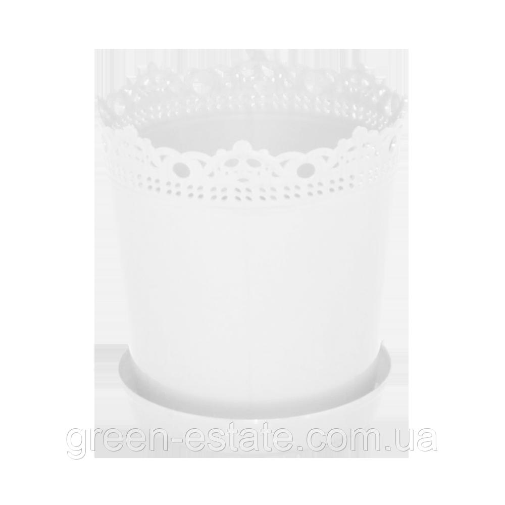 Вазон Рішельє з підставкою і дренажем 0,9 л білий